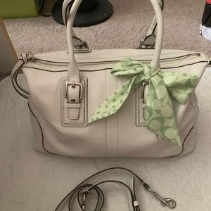 Coach white leather convertible bag